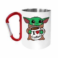"""Кружка с ручкой """"карабин"""" Yoda and a mug with the inscription I love coffee"""