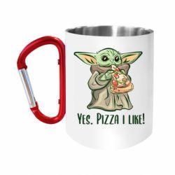 "Кружка с ручкой ""карабин"" Yoda and pizza"