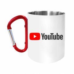 "Кружка с ручкой ""карабин"" Youtube logotype"