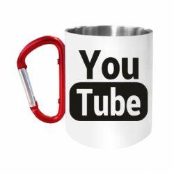 Кружка з ручкою-карабіном Youtube vertical logo