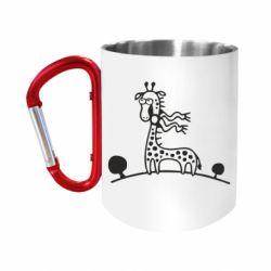 """Кружка с ручкой """"карабин"""" жираф"""