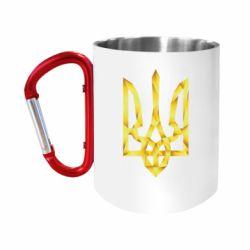 """Кружка с ручкой """"карабин"""" Золотий герб"""