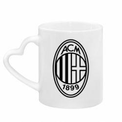 Кружка з ручкою у вигляді серця AC Milan logo