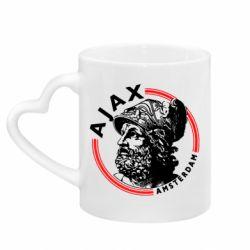 Кружка з ручкою у вигляді серця Ajax лого