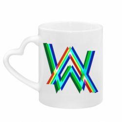 Кружка з ручкою у вигляді серця Alan Walker multicolored logo