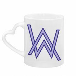 Кружка с ручкой в виде сердца Alan Walker neon logo