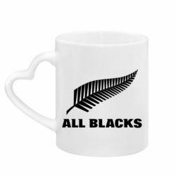Кружка с ручкой в виде сердца All Blacks