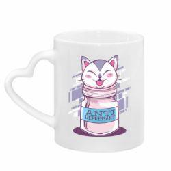 Кружка с ручкой в виде сердца AntiDepressant Cat