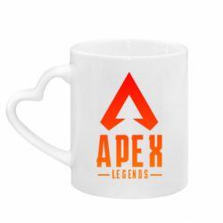Кружка з ручкою у вигляді серця Apex legends gradient logo