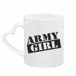 Кружка з ручкою у вигляді серця Army girl