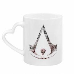 Кружка с ручкой в виде сердца Assassins Creed and skull