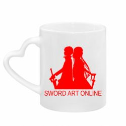 Кружка з ручкою у вигляді серця Asuna and Kirito