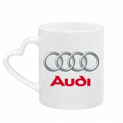 Кружка з ручкою у вигляді серця Audi 3D Logo