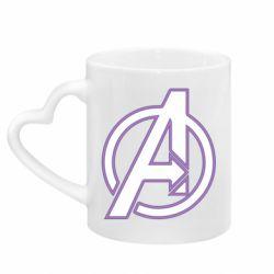 Кружка с ручкой в виде сердца Avengers and simple logo