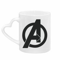 Кружка з ручкою у вигляді серця Avengers logo