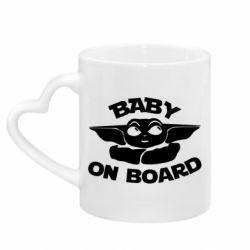 Кружка с ручкой в виде сердца Baby on board yoda
