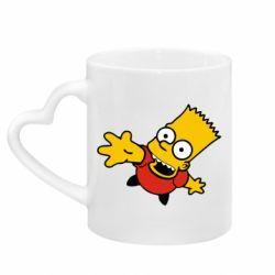 Кружка с ручкой в виде сердца Барт Симпсон