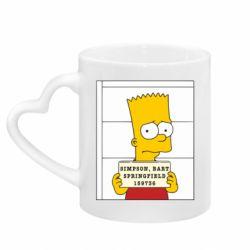 Кружка с ручкой в виде сердца Барт в тюряге