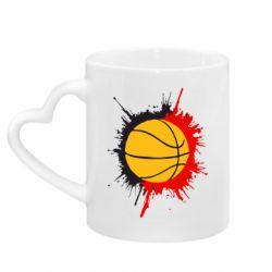 Кружка с ручкой в виде сердца Баскетбольный мяч