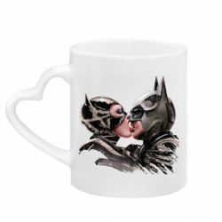 Кружка с ручкой в виде сердца Batman and Catwoman Kiss