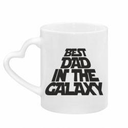 Кружка с ручкой в виде сердца Best dad in the galaxy