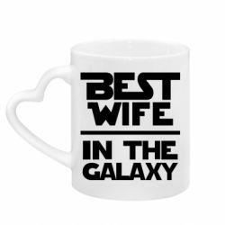 Кружка с ручкой в виде сердца Best wife in the Galaxy