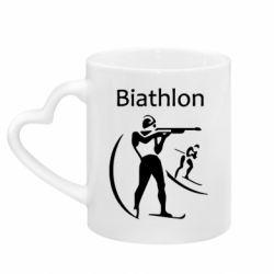 Кружка с ручкой в виде сердца Biathlon