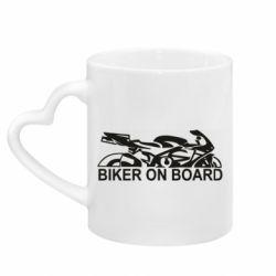 Кружка с ручкой в виде сердца Biker on board