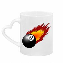 Кружка с ручкой в виде сердца Бильярдный шар в огне