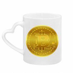 Кружка з ручкою у вигляді серця Bitcoin coin