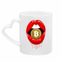 Кружка з ручкою у вигляді серця Bitcoin in the teeth