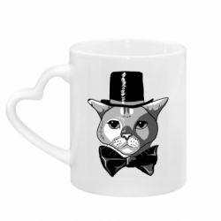 Кружка з ручкою у вигляді серця Black and white cat intellectual