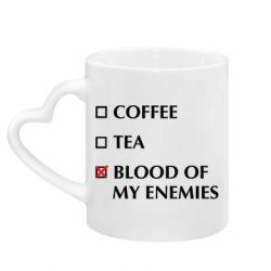 Кружка з ручкою у вигляді серця Blood of my enemies