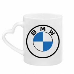 Кружка з ручкою у вигляді серця BMW logo 2020