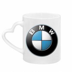 Кружка с ручкой в виде сердца BMW Logo 3D