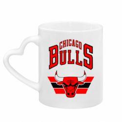 Кружка з ручкою у вигляді серця Великий логотип Chicago Bulls