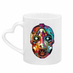 Кружка с ручкой в виде сердца Borderlands mask in paint