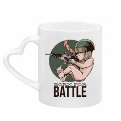 Кружка с ручкой в виде сердца Born For Battle
