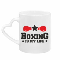 Кружка з ручкою у вигляді серця Boxing is my life