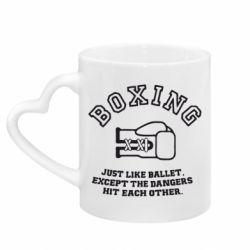 Кружка с ручкой в виде сердца Boxing just like ballet
