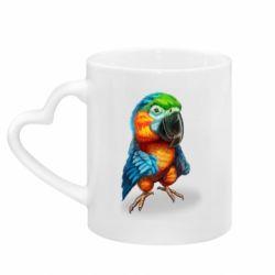 Кружка з ручкою у вигляді серця Bright parrot art