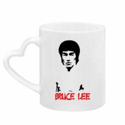 Кружка с ручкой в виде сердца Bruce Lee
