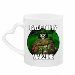Кружка з ручкою у вигляді серця Call of duty Warzone ghost green background