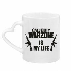 Кружка с ручкой в виде сердца Call of duty warzone is my life M4A1