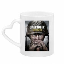 Кружка з ручкою у вигляді серця Call of Duty WW2 poster