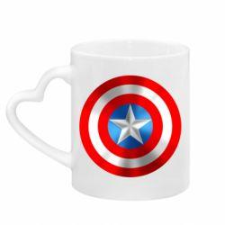 Кружка с ручкой в виде сердца Captain America 3D Shield