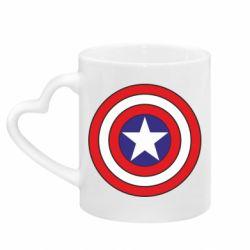 Кружка с ручкой в виде сердца Captain America