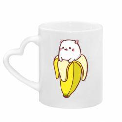 Кружка с ручкой в виде сердца Cat and Banana