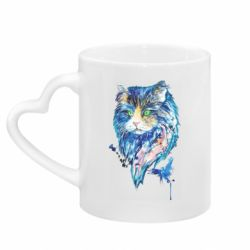 Кружка с ручкой в виде сердца Cat in blue shades of watercolor