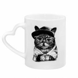 Кружка з ручкою у вигляді серця Cat in glasses and a cap